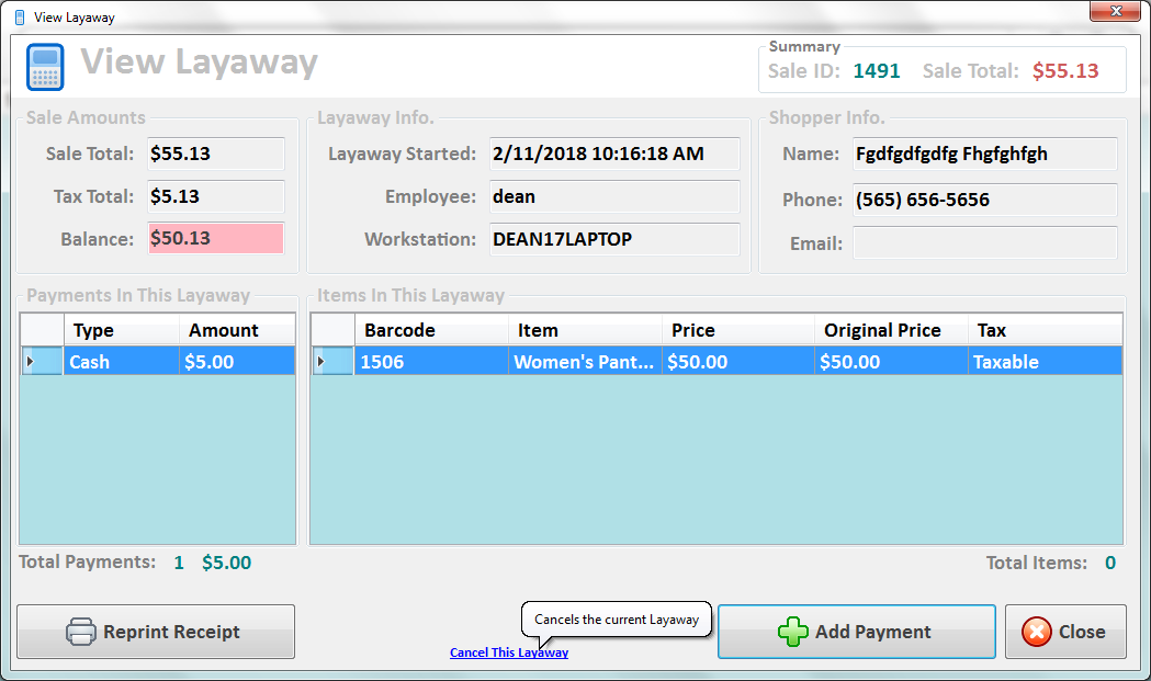 Peeps' Consignment Software • Cancel This Layaway