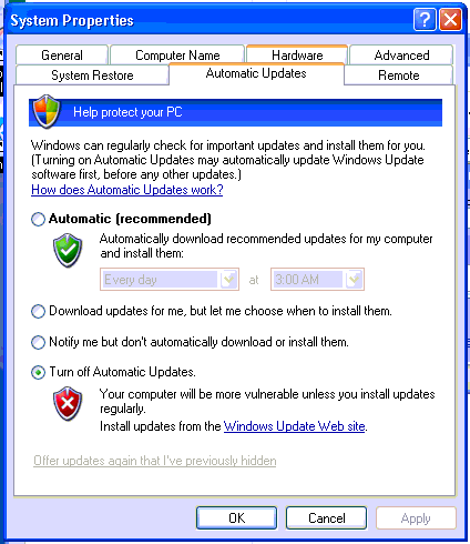 Windows Updates Disabled on Windows XP