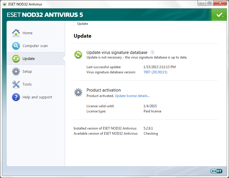 ESET Manually Check for Updates