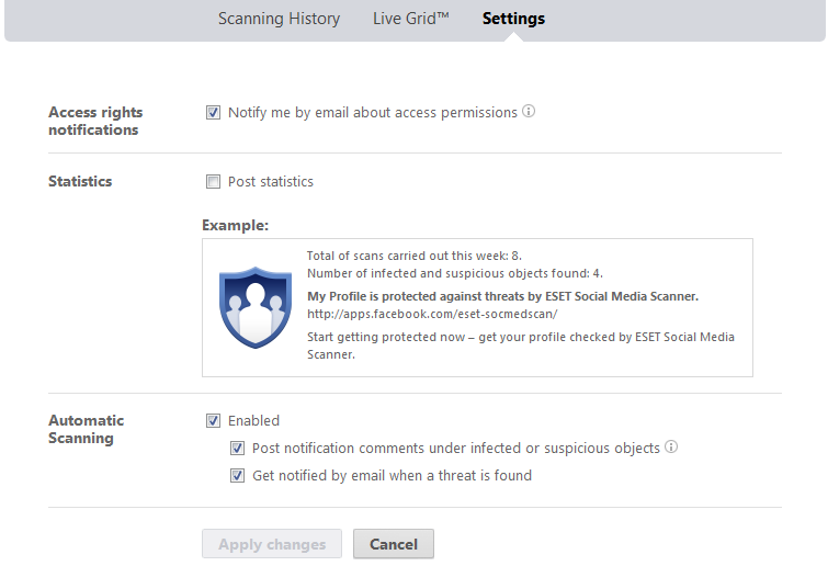 ESET Facebook App Settings