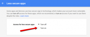 Google's 'Allow Less Secure Apps' Setting
